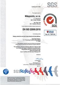certifikát EN ISO 22000:2018 EN