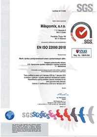 certifikát EN ISO 22000:2018 SK